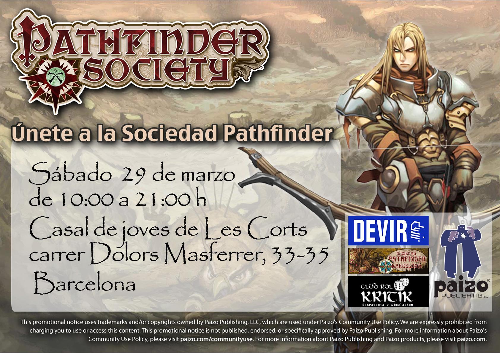 Evento de la Sociedad Pathfinder en el Club de Rol Krítik